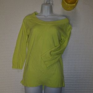 Light Lime Green chartreuse pin-up sweater medium
